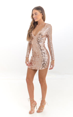 Rose Gold Embellished Mini Dress