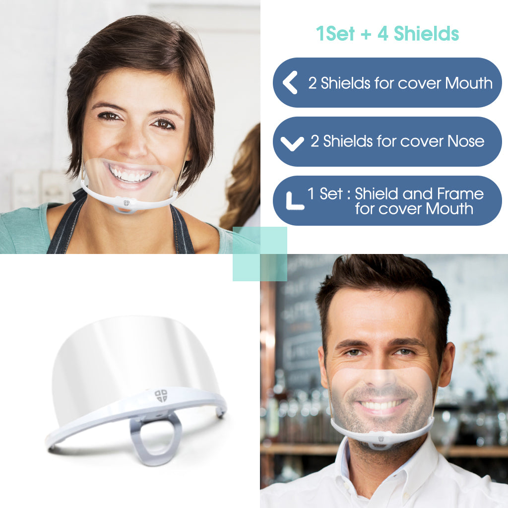 Clear Face Mask SG4 1PLUS4 (1 Set + 2 Standard Cover Mouth + 2 Tall Cover Nose & Mouth)