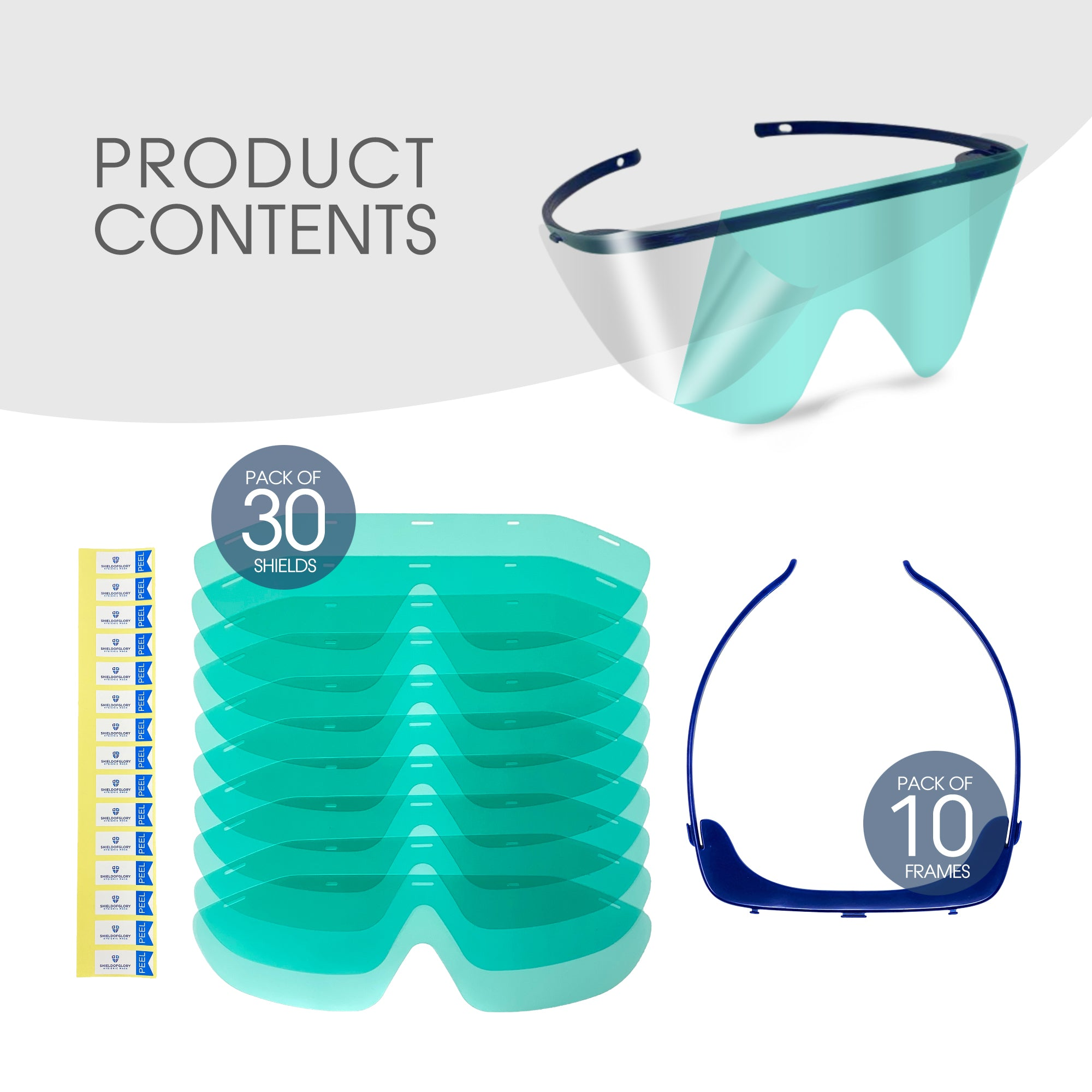 SG530 Eye protection glasses-Reusable (10 Frames + 30 Shields)