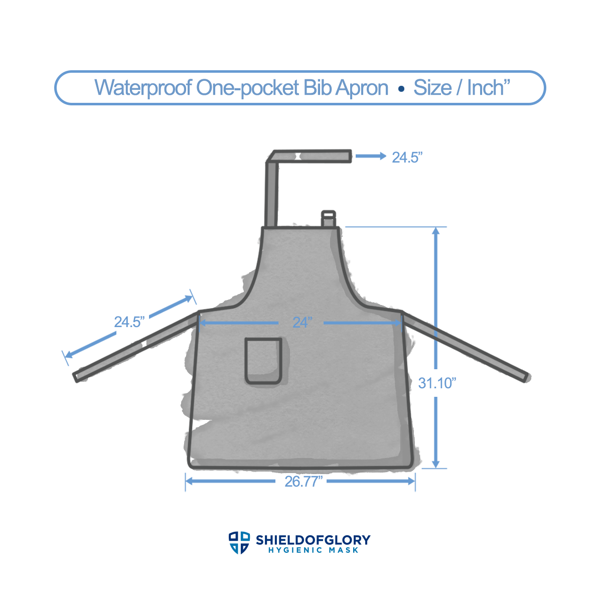 Waterproof One-pocket Bib Apron