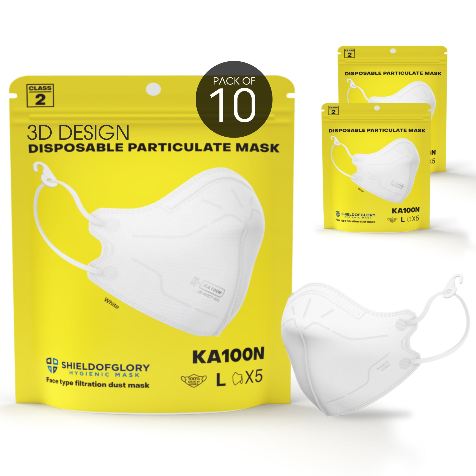 (10 Masks) KA100N Particulate KOSHA Class2 Mask (White, 10 pieces/bag)