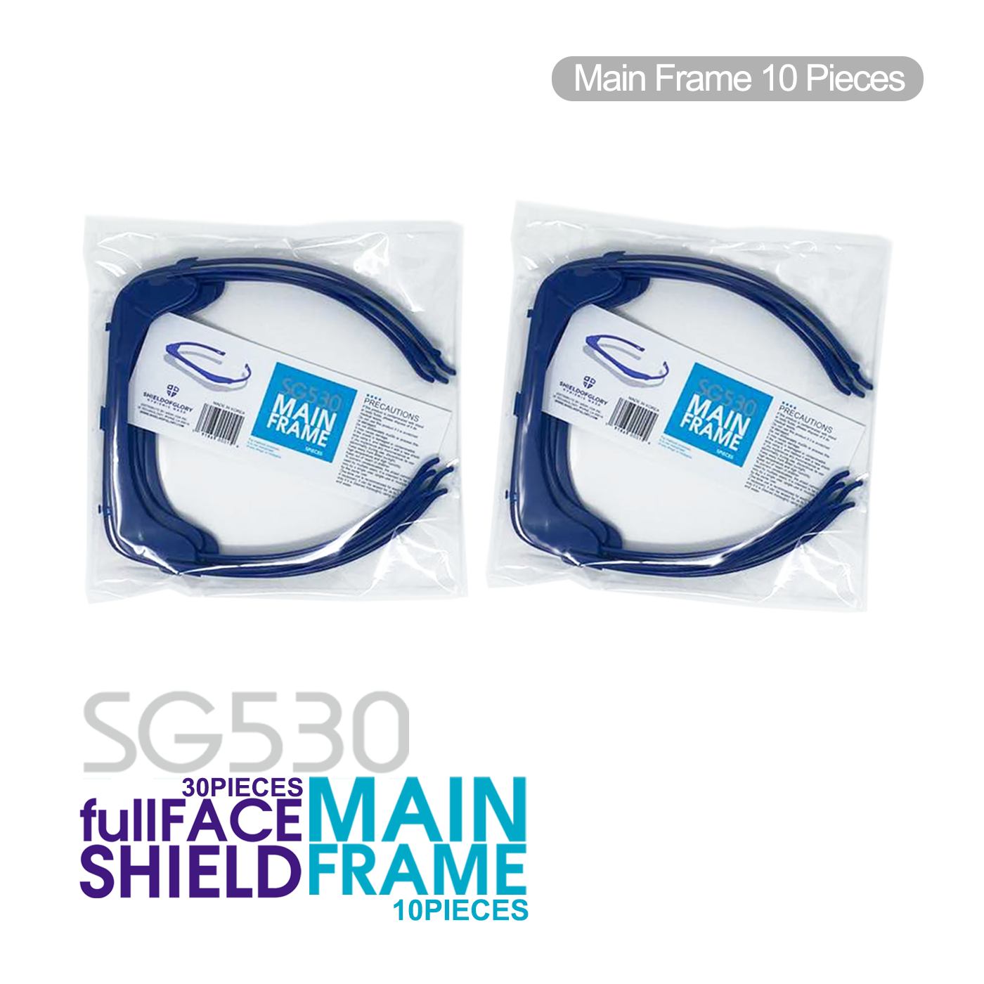 SG530 Protective full FACE Shield (10 Frames + 30 Shields)