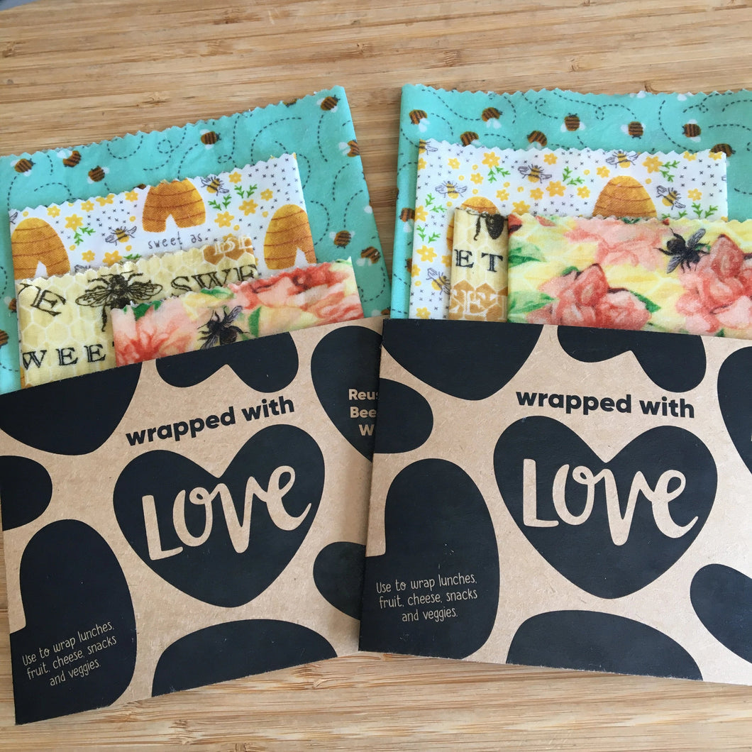 Beeswax Wraps Starter  3 pack -  Bees
