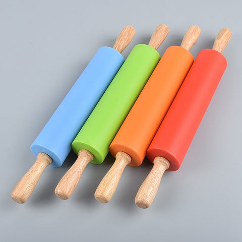 Wooden handle Silicone Rolling Pin Baking Tools