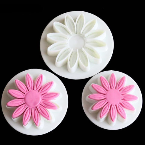 3 Pcs/set Veined Flower Plunger cutter