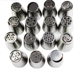 15PCS Russian FLOWER Stainless Steel Icing Nozzles