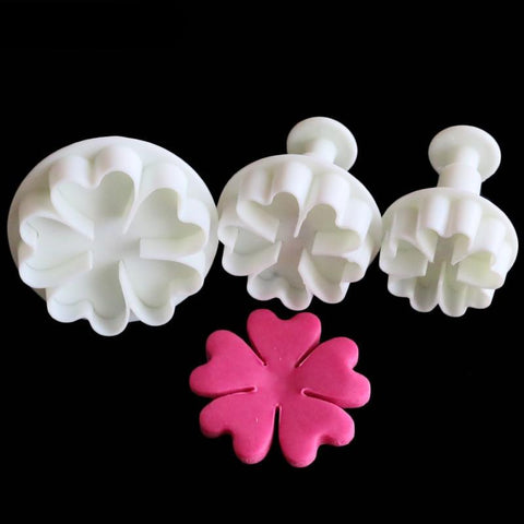 3PCS Heart Flower Cake Decorating Plunger Cutter