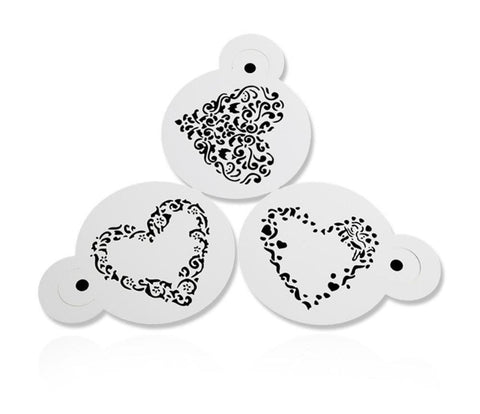 3PCS Love Heart Plastic Stencils
