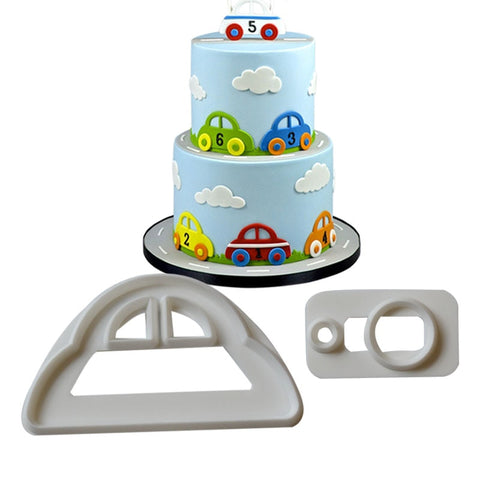 2PCS/SET Car Plastic Fondant Cutter