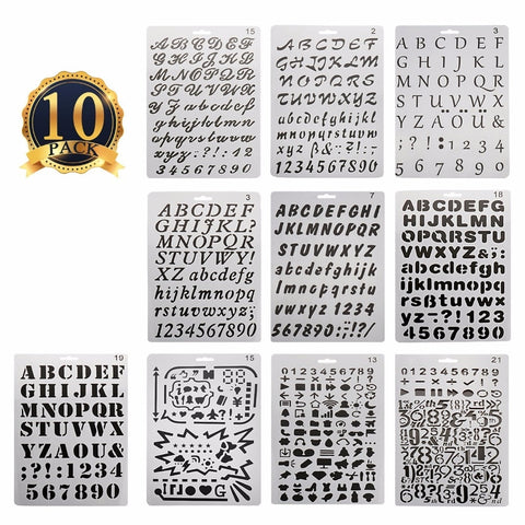 10pcs/set alphabet and number stencils