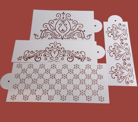 4PCS/Set Princess Lace Cake Stencil