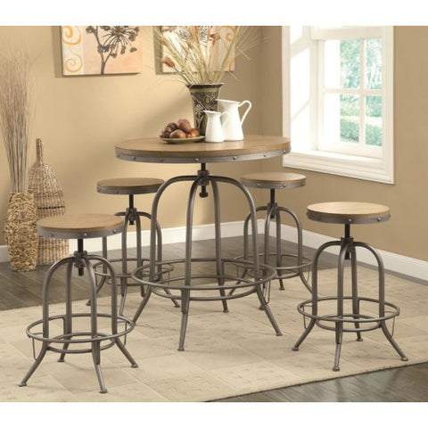 Adjustable Bar Table Industrial Rustic Table With Bar Stools