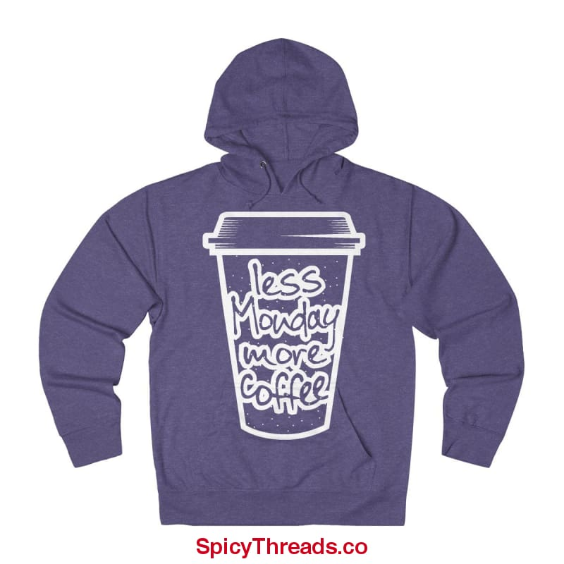 Less Monday More Coffee Hoodie - Purple Heather / Xs - Hoodie