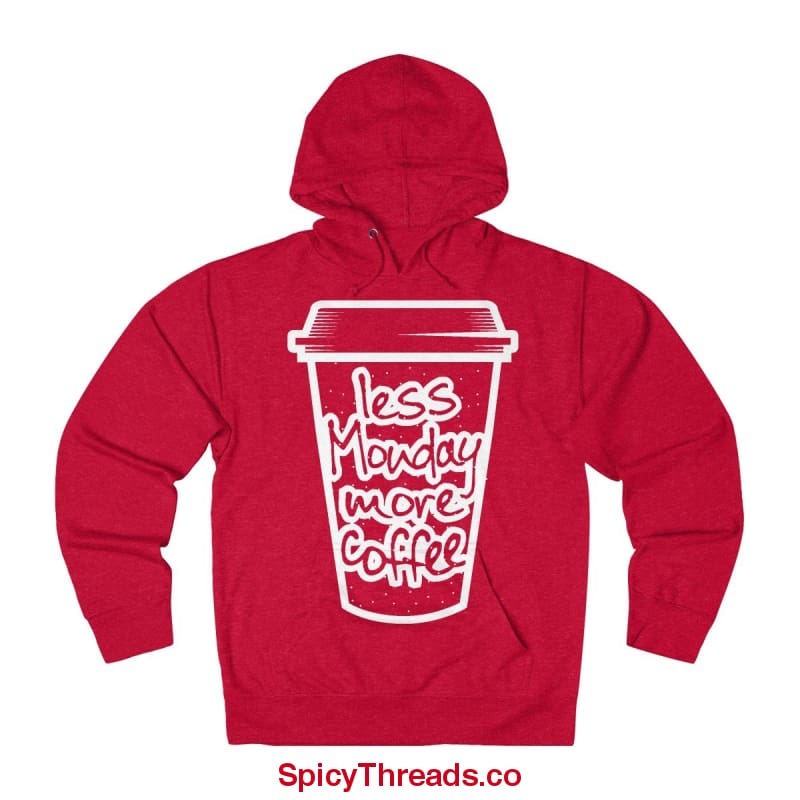 Less Monday More Coffee Hoodie - Red Heather / Xs - Hoodie