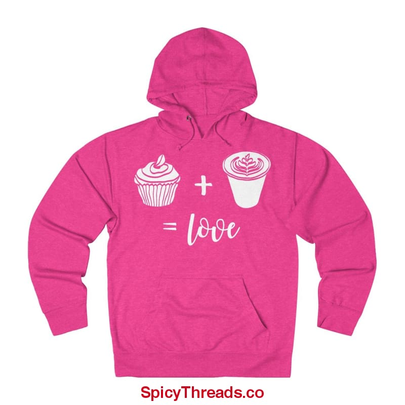 Muffins Plus Coffee Equals Love Hoodie - Heliconia Heather / L - Hoodie