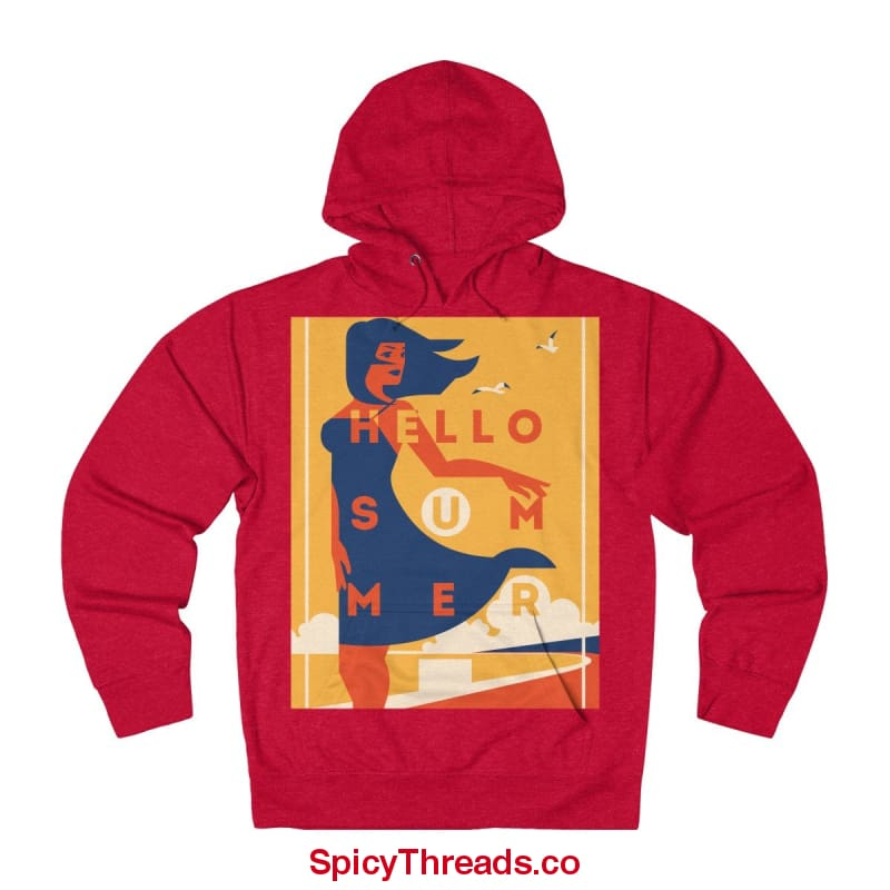 Ocean Breeze - Hello Summer Hoodie - Red Heather / L - Hoodie