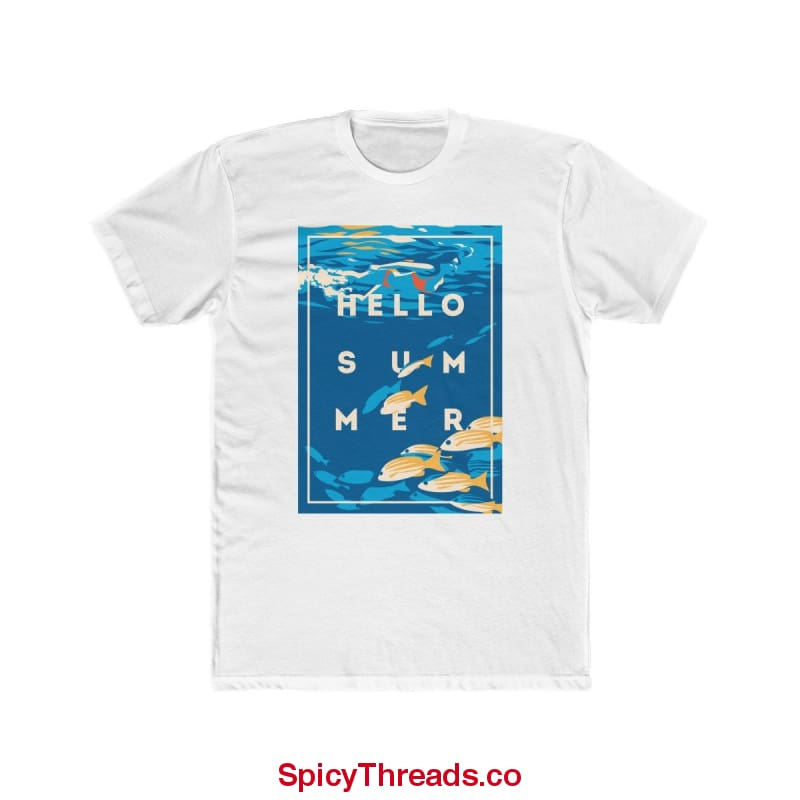 Under The Waves - Hello Summer Premium Tee - Solid White / L - T-Shirt
