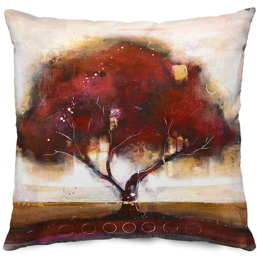 Red Tree 2 Throw Pillow