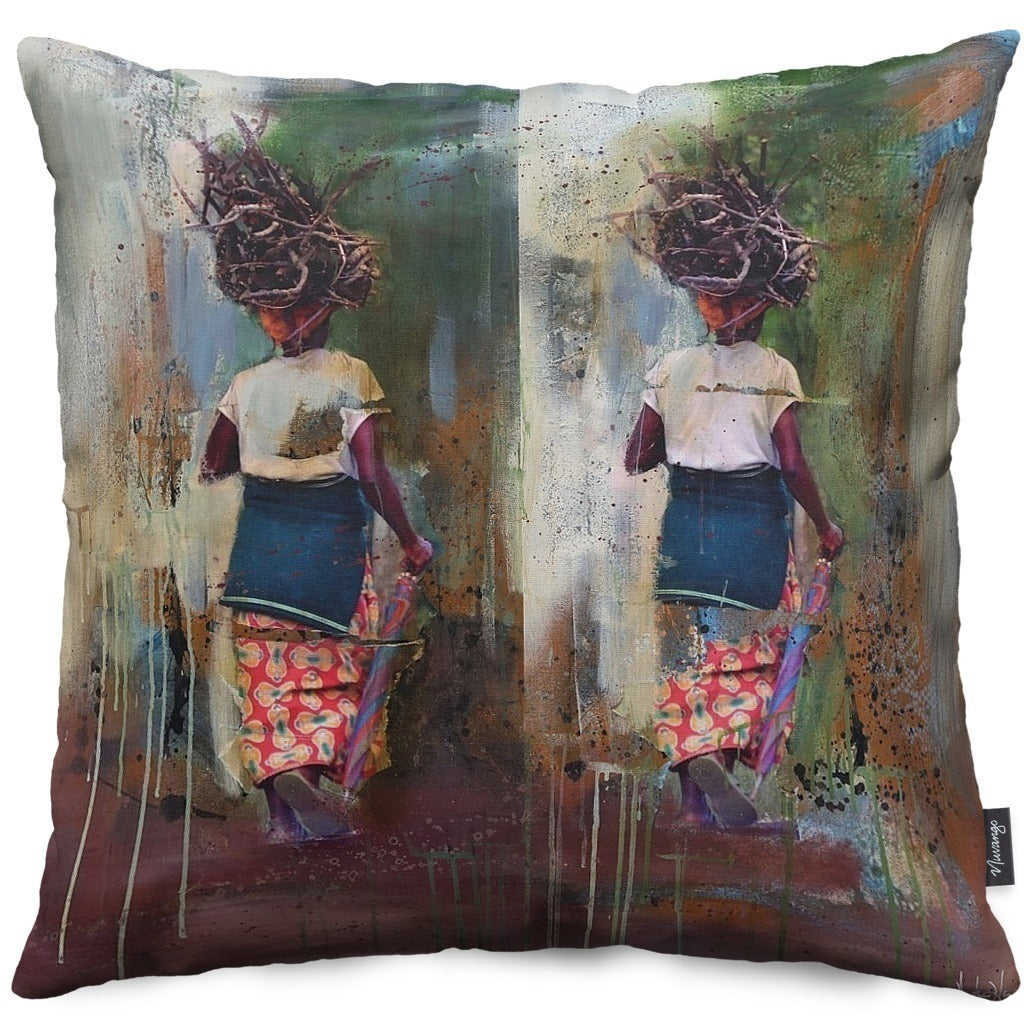 Girl Basket Throw Pillow