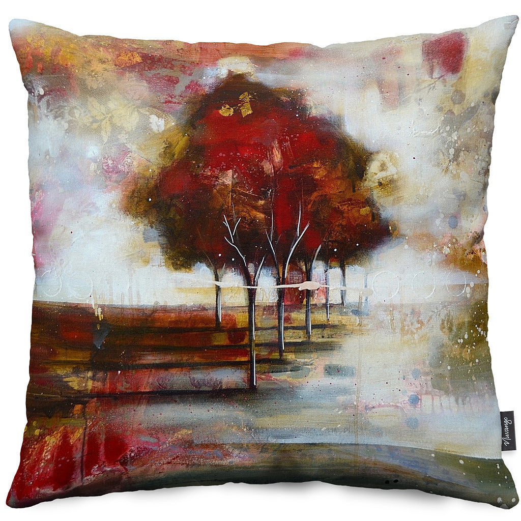 Red Tree 3 Throw Pillow