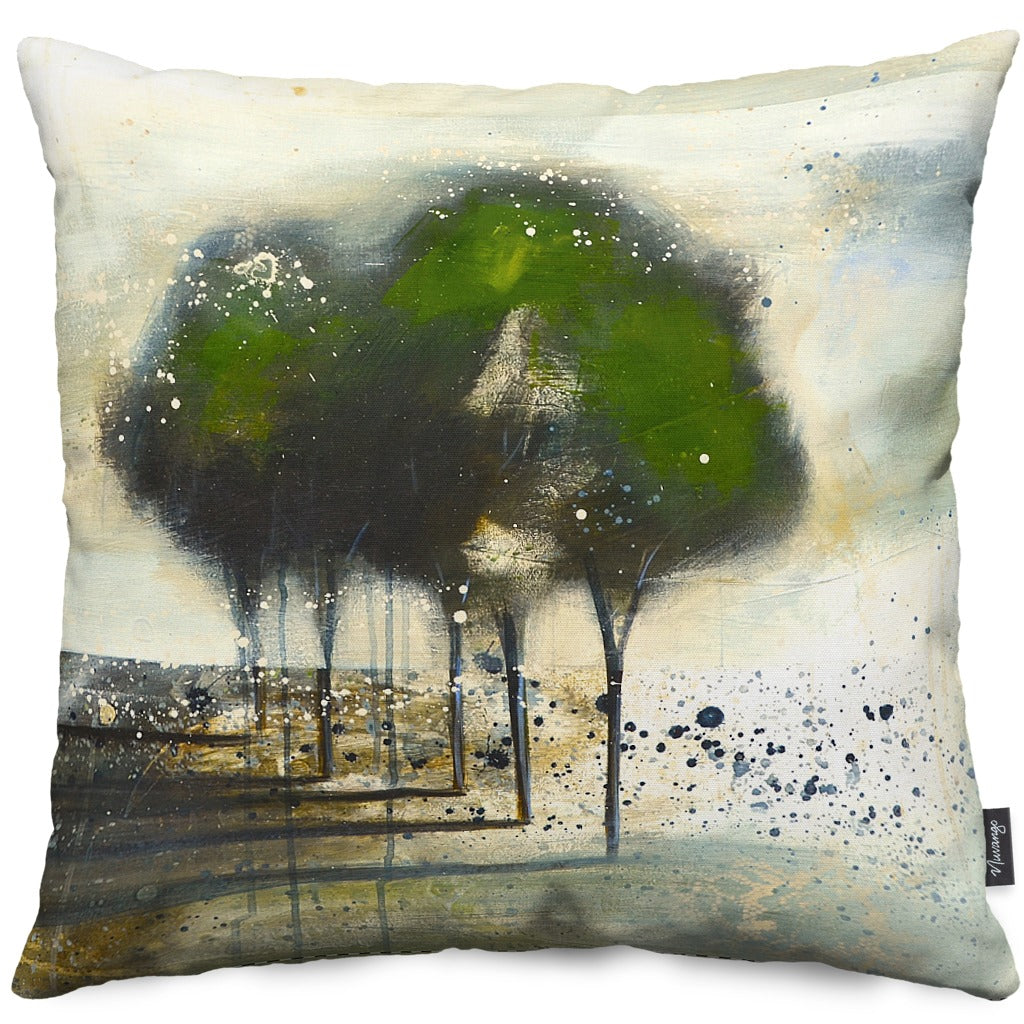 Green Tree Throw Pillow