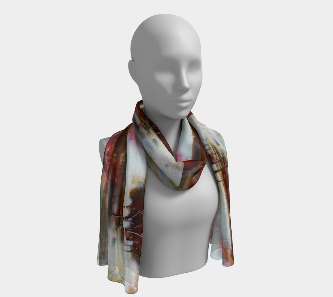 HH Red Tree Line Long Scarf