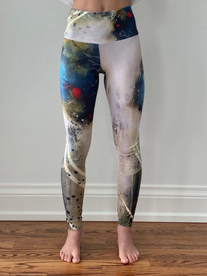 Blue Tree Swirl Yoga Tights