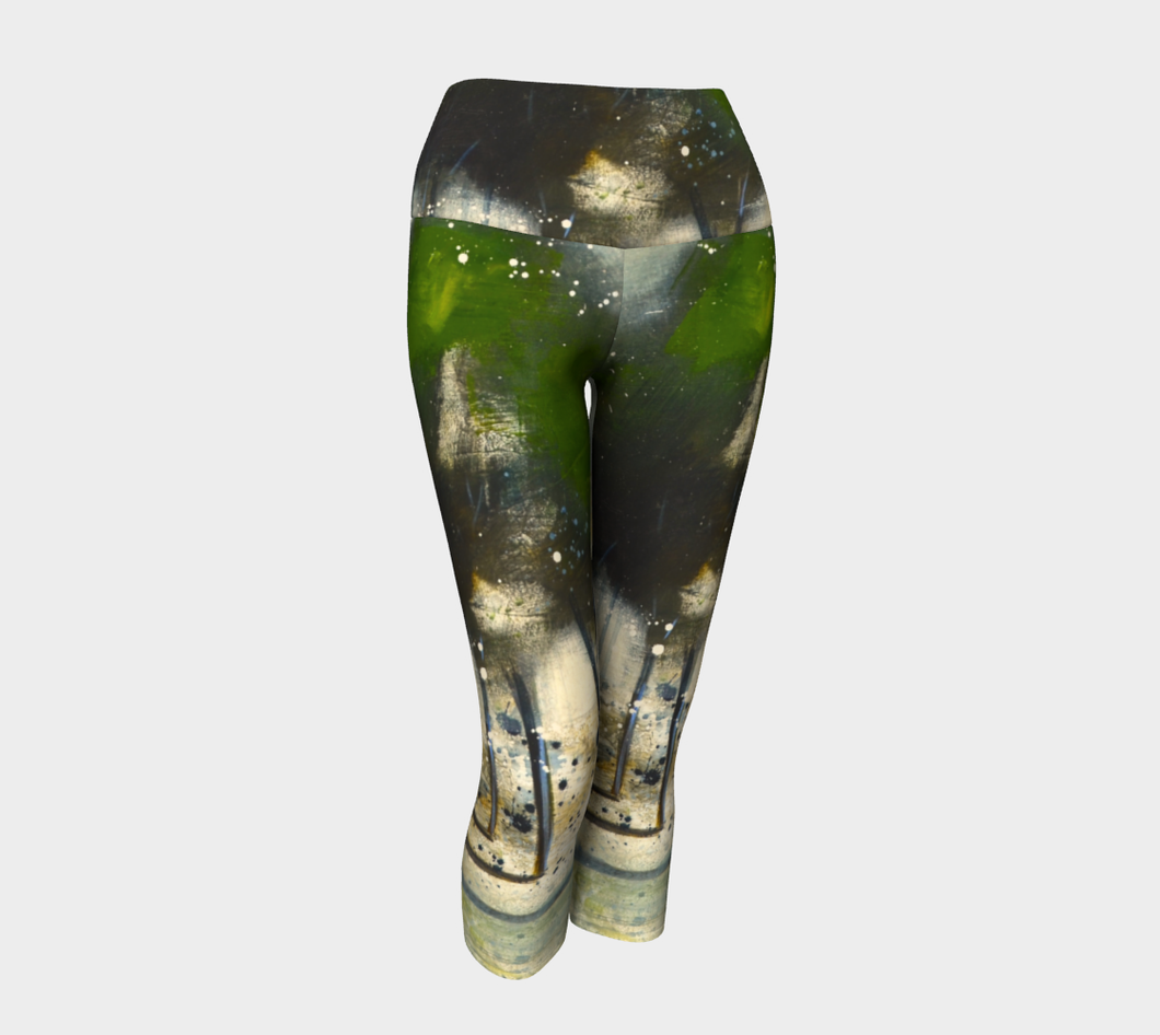 Green Tree Line Yoga Capris