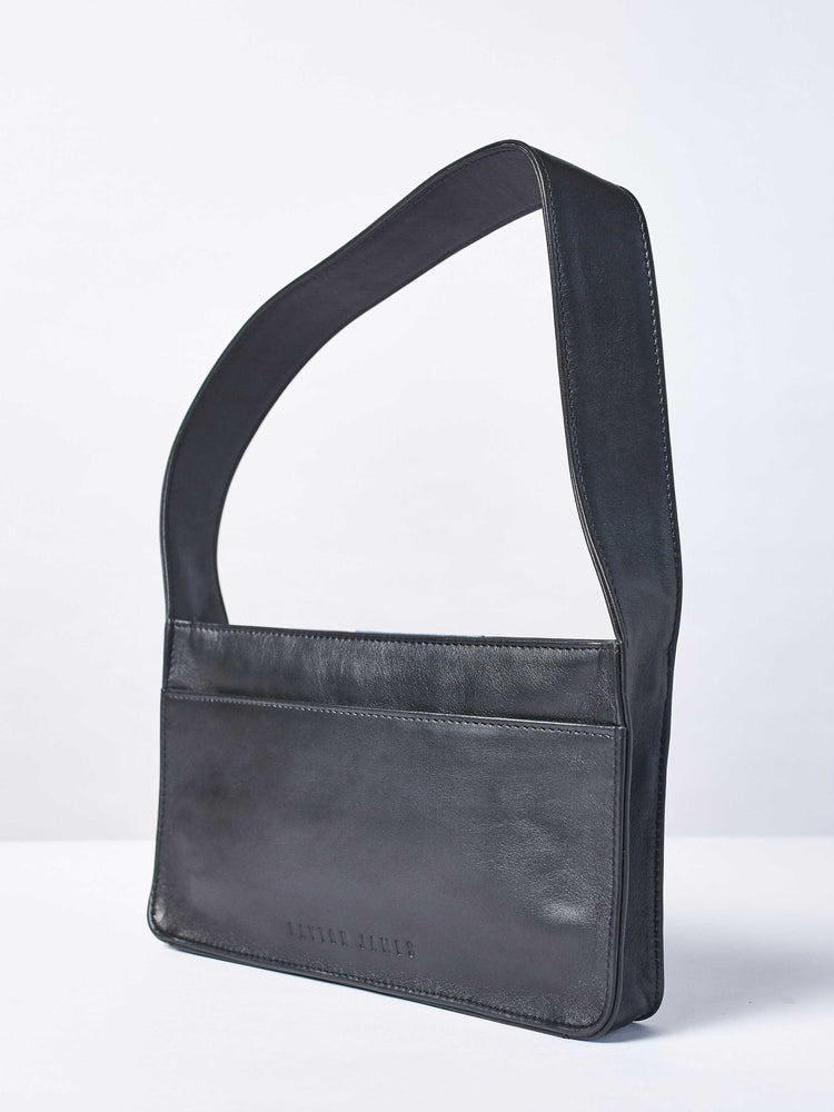 Baby Spice Leather shoulder tote handbag Back of bag- Black and blue Color-by-PaytonJames-Nashville-designer