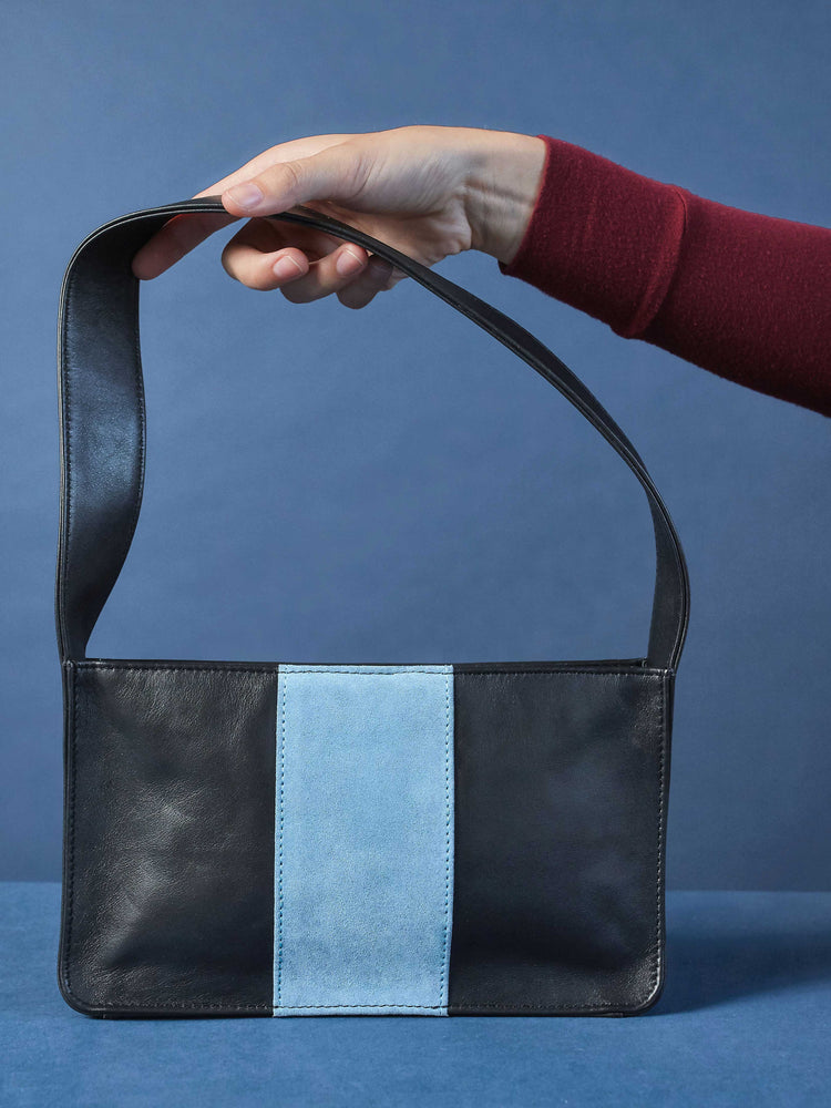 Baby Spice Leather shoulder tote handbag Model Holding Bag- Black and blue Color-by-PaytonJames-Nashville-designer