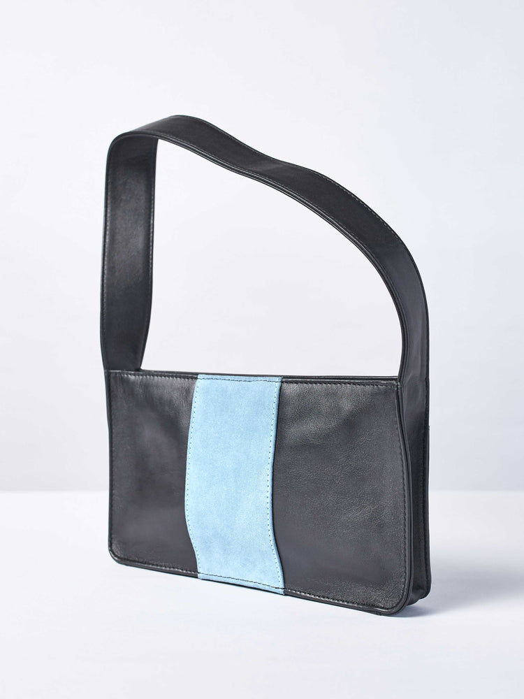Baby Spice Leather shoulder tote handbag- Black and blue Color-by-PaytonJames-Nashville-designer