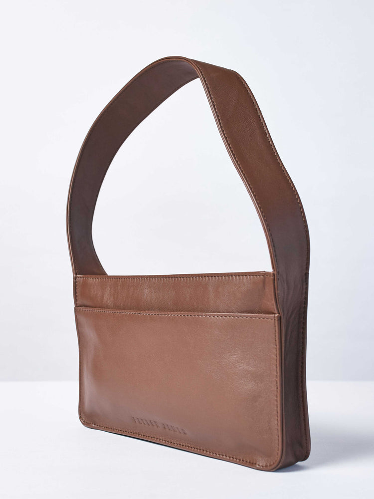 Baby Spice Leather shoulder tote handbag- Back of bag- Espresso and Cabernet Color-by-Payton James-Nashville-designer