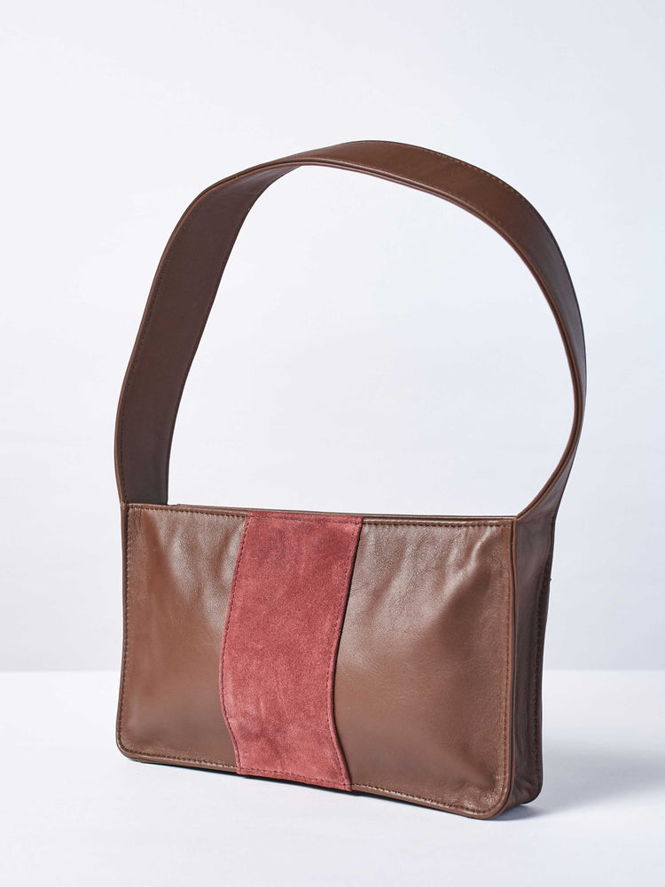 Baby Spice Leather shoulder tote handbag- Espresso and Cabernet Color-by-PaytonJames-Nashville-designer
