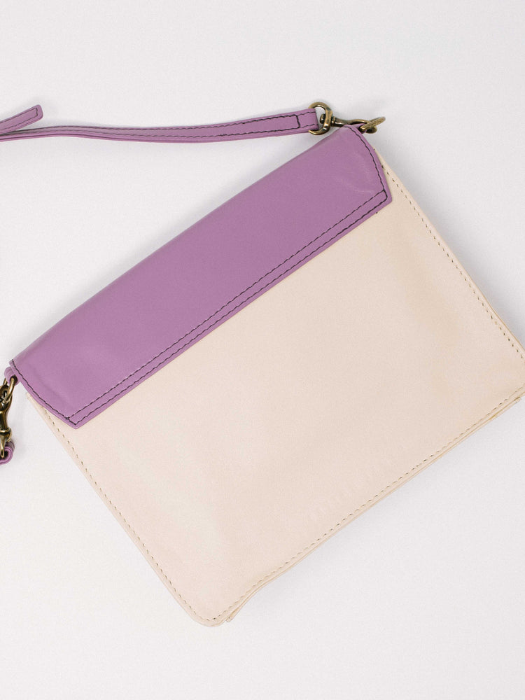 Lavender Leather Crossbody Wallet bag- back of bag- by Payton James Nashville Handbag designer