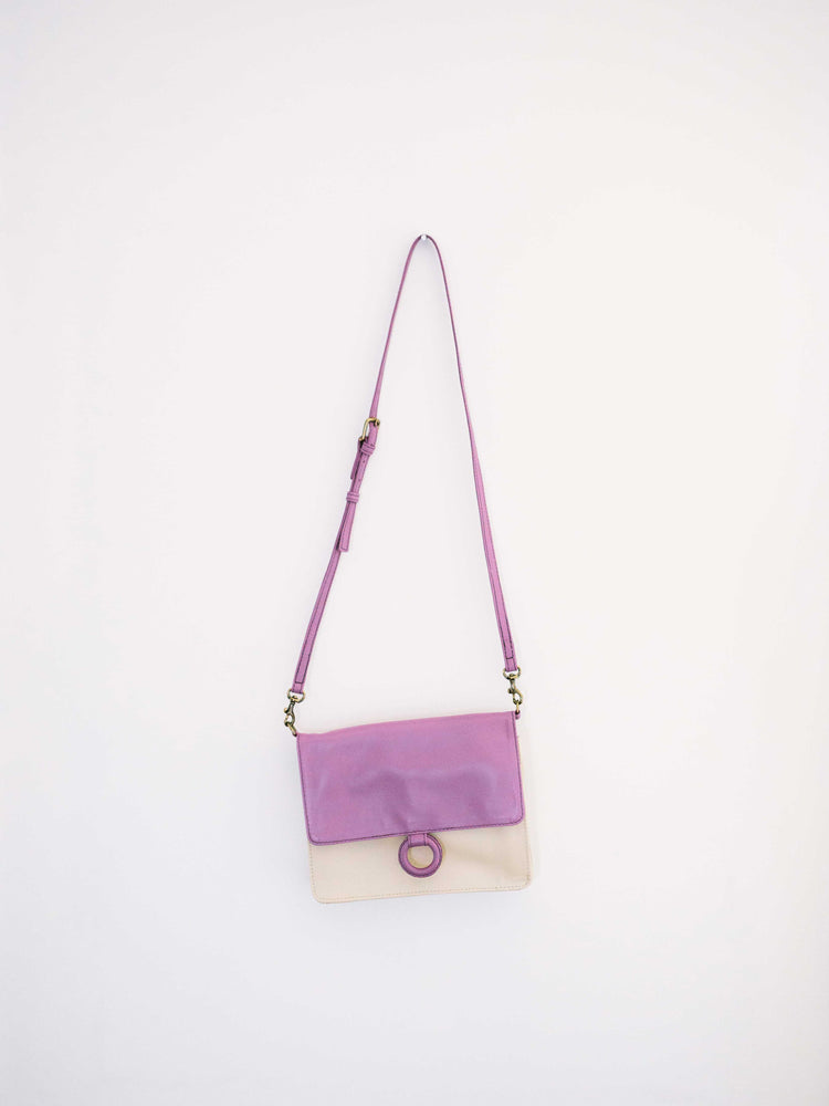 Lavender Leather Crossbody Wallet bag  displayed on white wall-by Payton James Nashville Handbag designer
