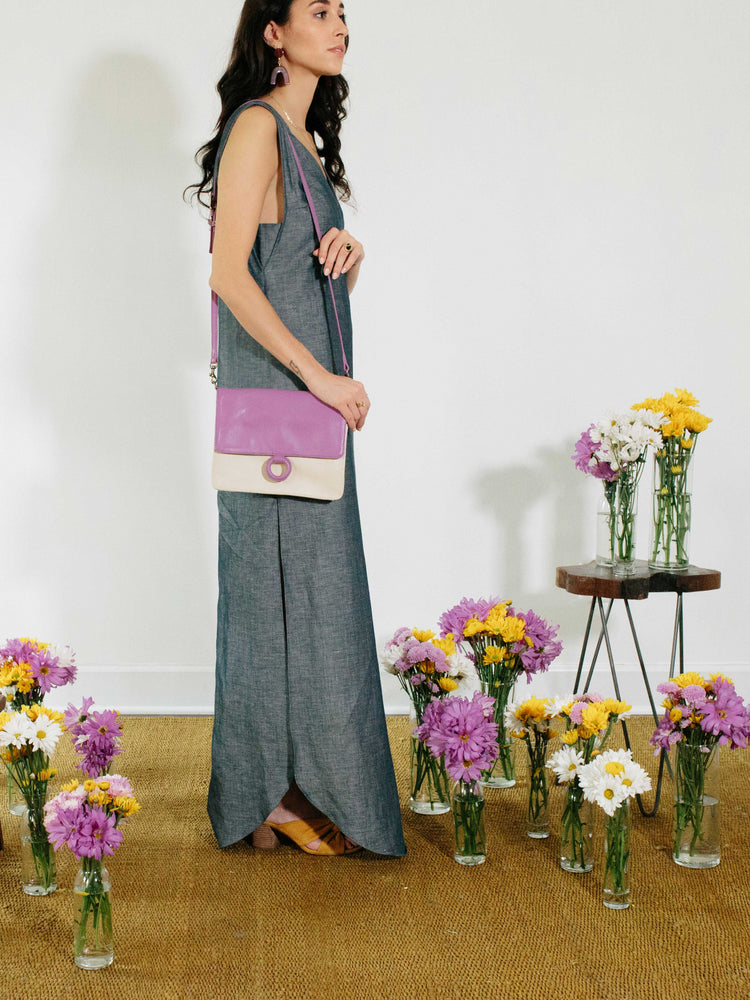 Lavender Leather Crossbody Wallet bag displayed on model on a photoshoot- by Payton James Nashville Handbag designer