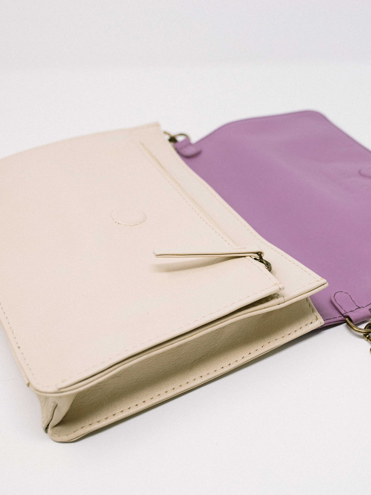 Lavender Leather Crossbody Wallet bag inside of wallet- by Payton James Nashville Handbag designer