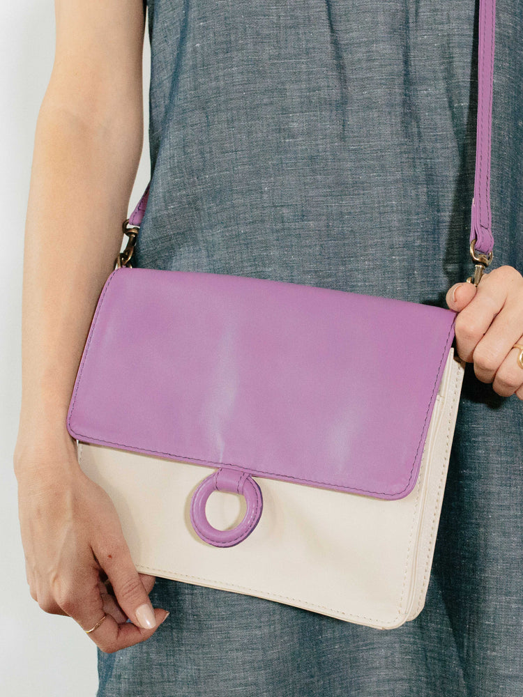 Lavender Leather Crossbody Wallet bag held by model by Payton James Nashville Handbag designer
