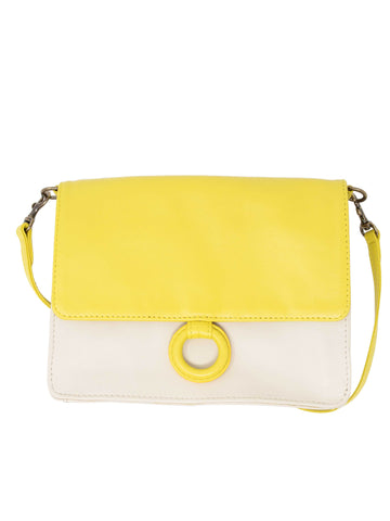 Leather Crossbody Wallet bag lemon and white crossbody bags by Payton James
