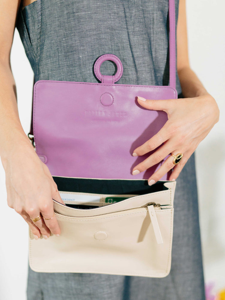 Lavender Leather Crossbody Wallet bag - bag displayed on model -by Payton James Nashville Handbag designer