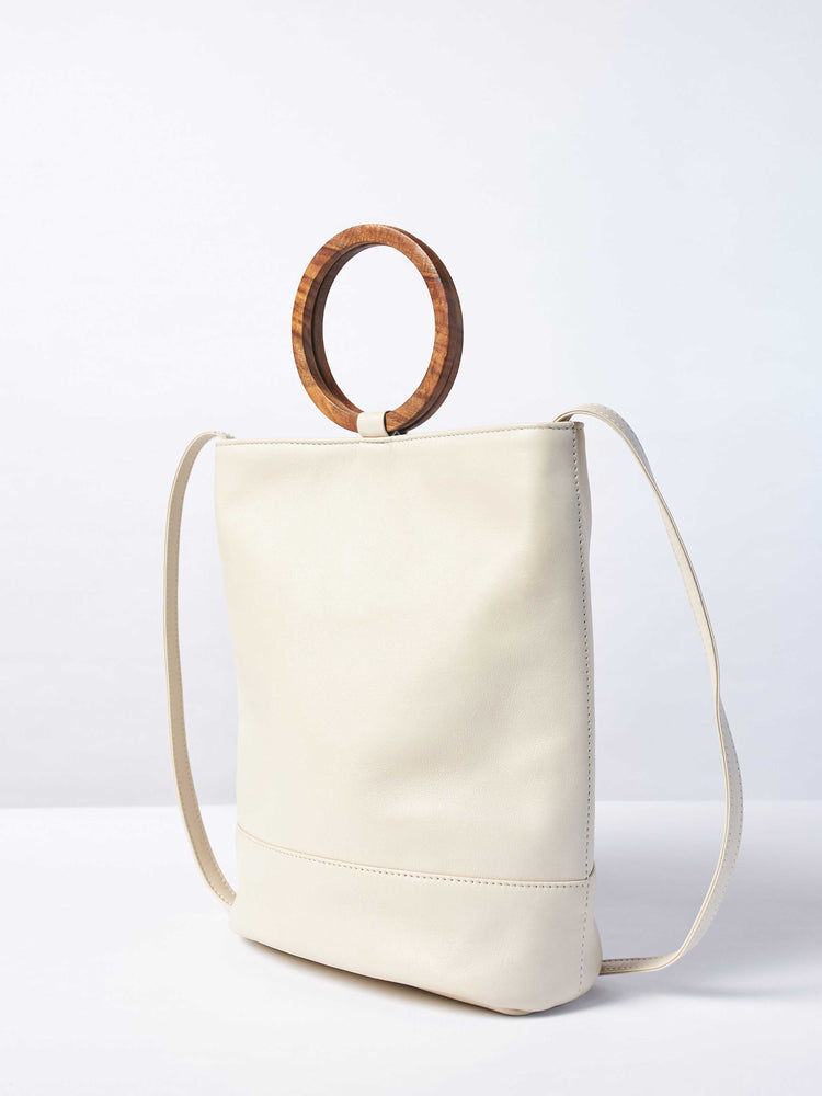 White Leather Tote and Crossbody Handbag by Payton James: Nashville Handbag Designer closeup of crossbody strap