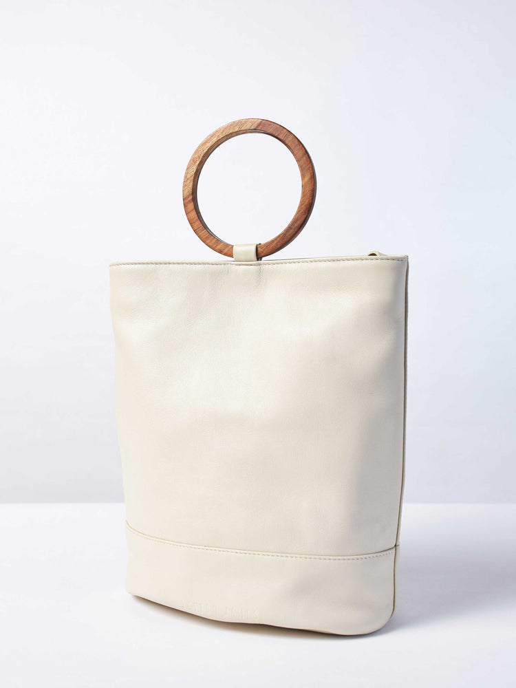 White Leather Tote and Crossbody Handbag by Payton James: Nashville Handbag Designer bag without strap