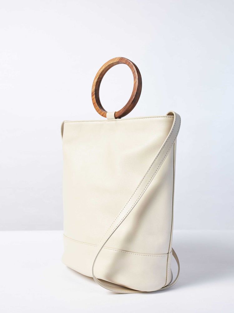 White Leather Tote and Crossbody Handbag by Payton James: Nashville Handbag Designer