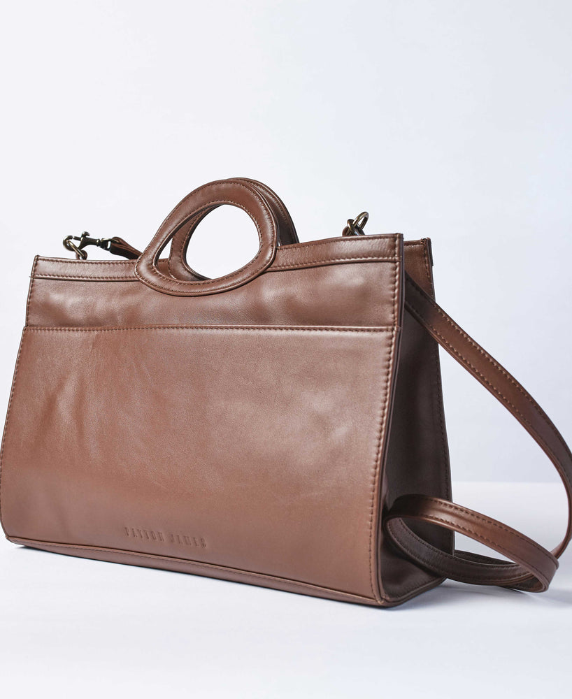 Espresso Leather-Tote and Crossbody Handbag-Jackie Tote-by-PaytonJames-Nashville-designer.
