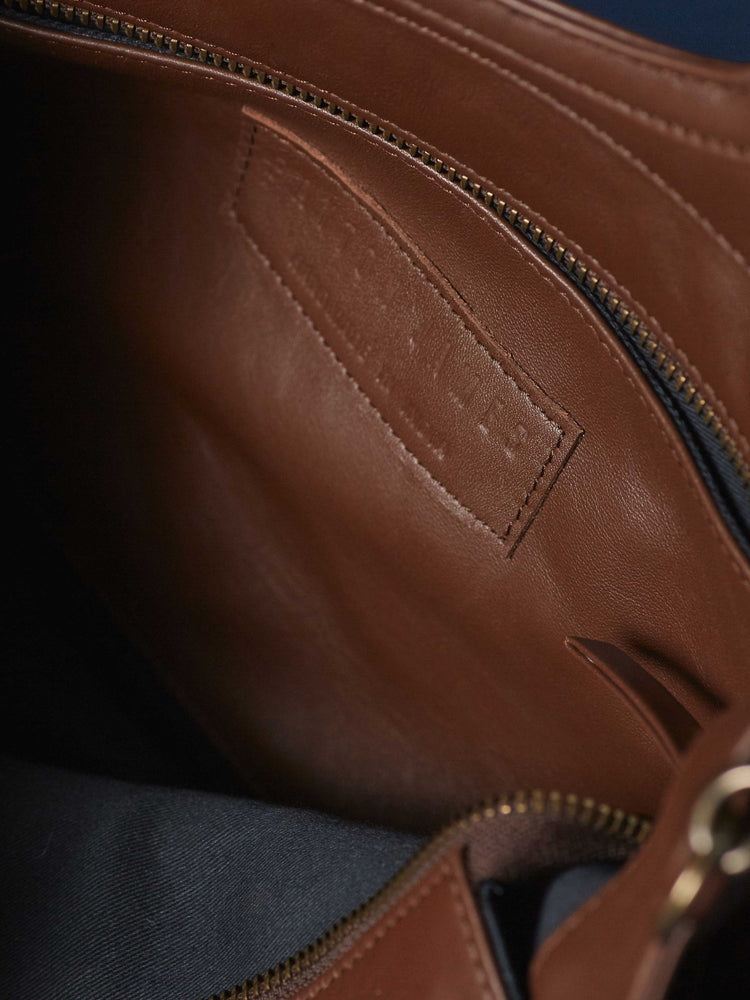 Espresso Leather-Tote and Crossbody Handbag- Jackie Tote-Closeup of Inside of Bag -by-PaytonJames-Nashville-designer.
