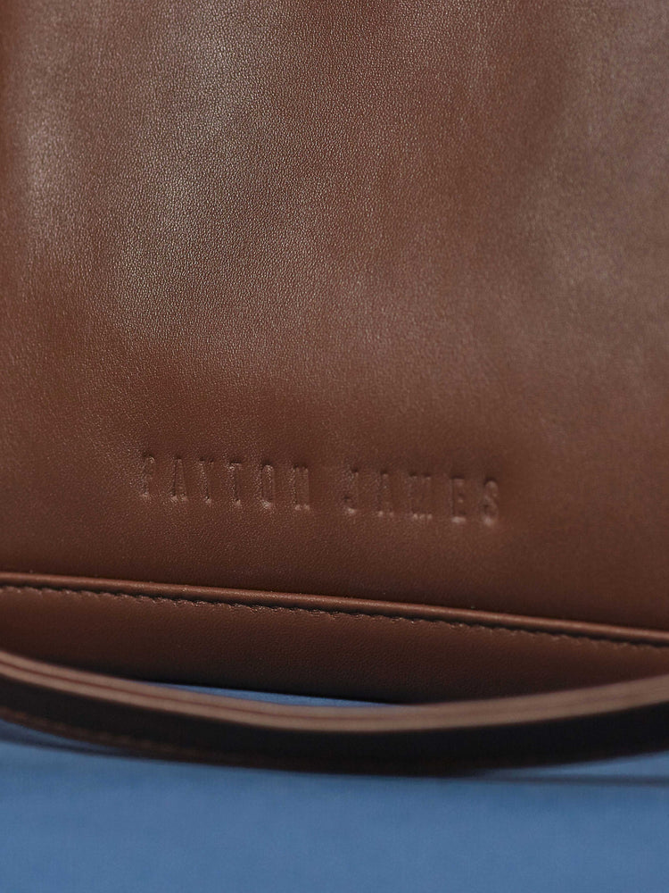 Espresso Leather-Tote and Crossbody Handbag- Jackie Close-up of name brand-by-PaytonJames-Nashville-designer.