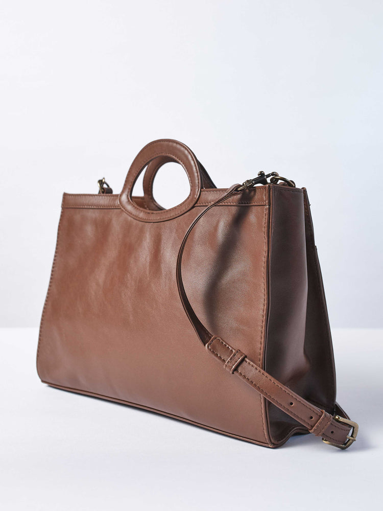 Espresso Leather-Tote and Crossbody Handbag- Jackie Tote-by-PaytonJames-Nashville-designer.