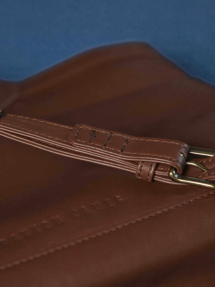 Espresso Leather-Tote and Crossbody Handbag- Closeup of strap Jackie Tote-by-PaytonJames-Nashville-designer.