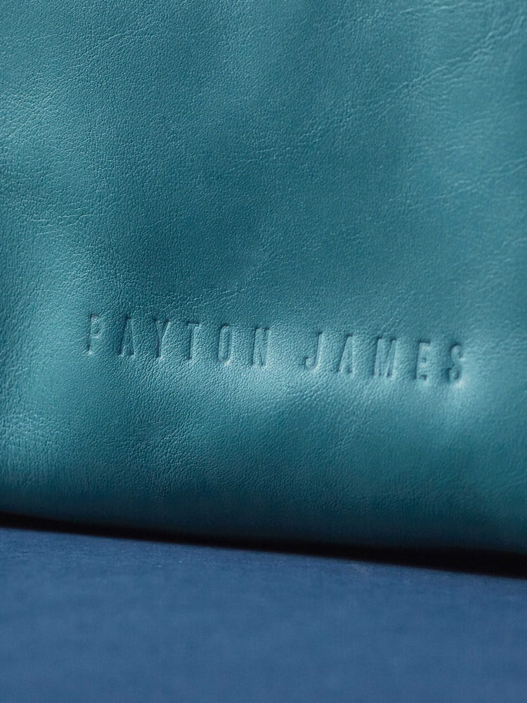 Leather-Crossbody Handbag- emerald Color-by-PaytonJames-Nashville-designer. closeup of name