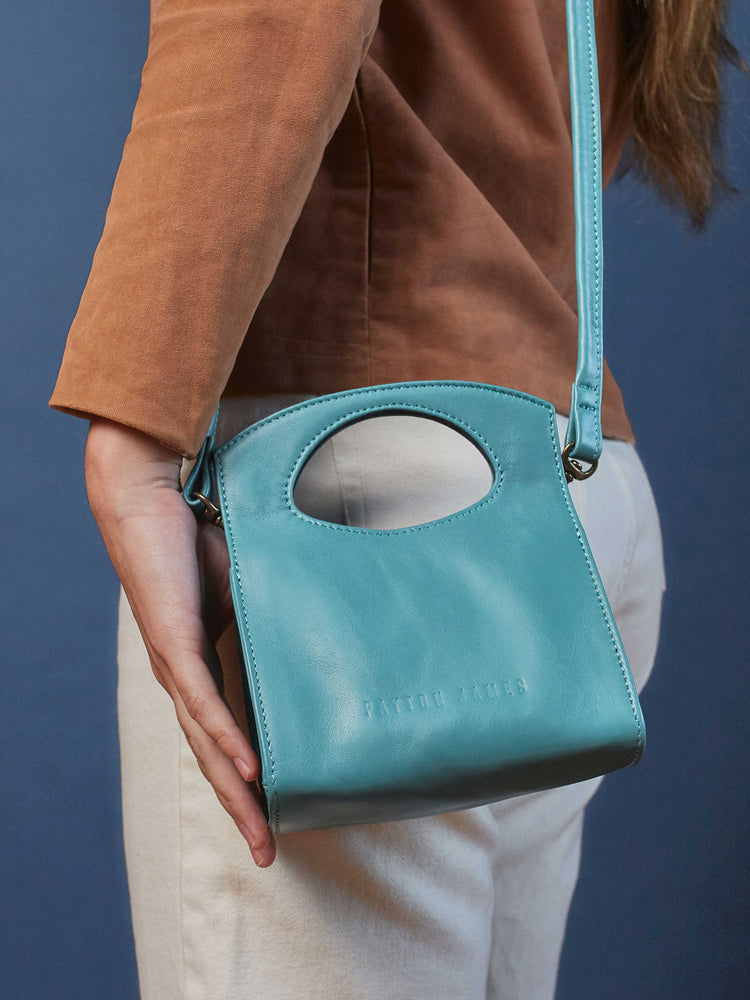 Leather-Crossbody Handbag- Emerald Color-by-PaytonJames-Nashville-designer.